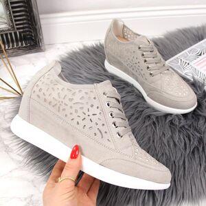 Sergio Leone Sneakersy damskie ażurowe koturn szare Sergio Leone - szary