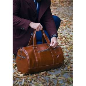 SOLIER Skórzana torba męska weekendowa SOLIER SL19 Brandon vintage brąz
