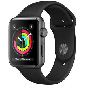 Apple SmartWatch APPLE Watch Series 3 Koperta 42 mm z aluminium w kolorze gwiezdnej szarości paskiem sportowym w kolorze czarnym MTF32MP/A