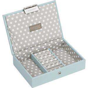 Stackers Szkatułka na biżuterię Stackers w groszki mini błękitno-szara z pokrywką