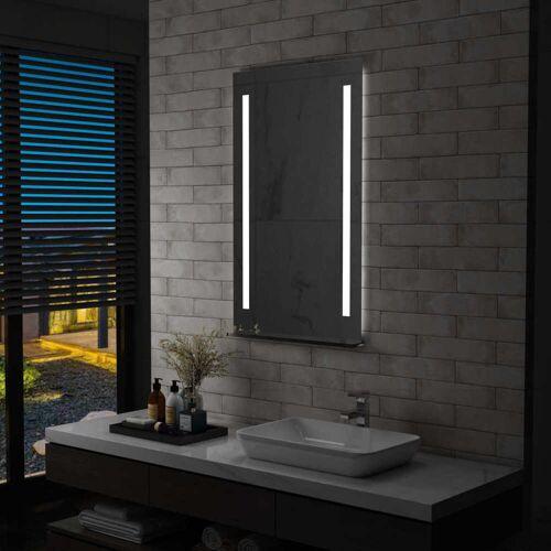 vidaXL Ścienne lustro łazienkowe z LED, z półką, 60 x 100 cm