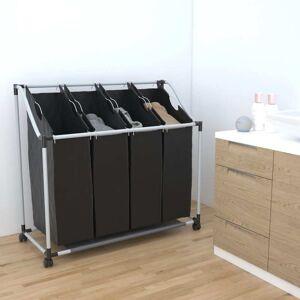 vidaXL Sortownik na pranie z 4 pojemnikami, czarno-szary