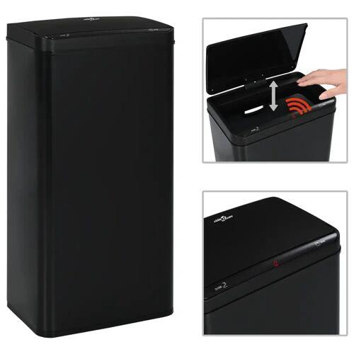 vidaXL Automatyczny kosz na śmieci z czujnikiem, czarny, stal, 80 L