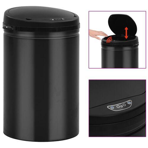 vidaXL Automatyczny kosz na śmieci z czujnikiem, 30 L, stal, czarny