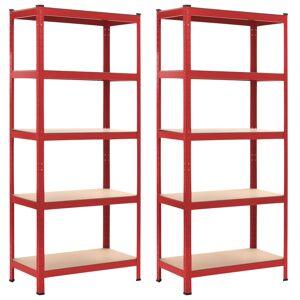 vidaXL Regały magazynowe, 2 szt., czerwone, 80x40x180 cm, stal i MDF
