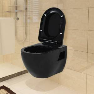 vidaXL Toaleta wisząca, ceramiczna, czarna