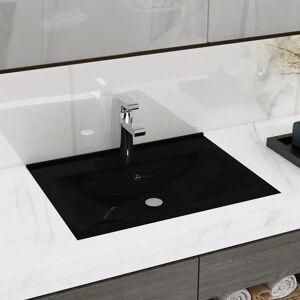 vidaXL Umywalka prostokątna z otworem na kran, czarna, 60 x 46 cm