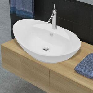 vidaXL Ceramiczna umywalka owalna z przelewem oraz otworem na baterie