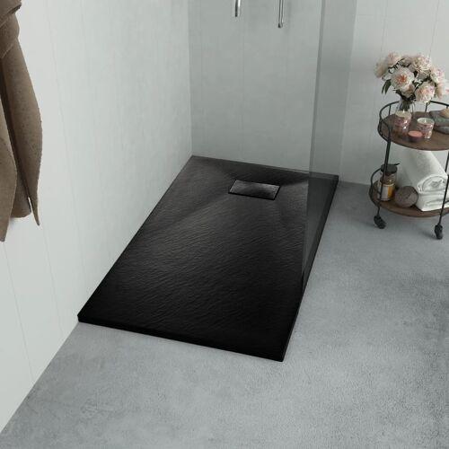 vidaXL Brodzik prysznicowy, SMC, czarny, 80 x 80 cm