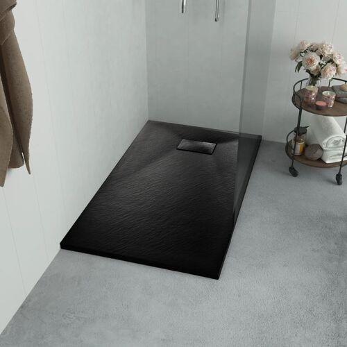 vidaXL Brodzik prysznicowy, SMC, czarny, 90 x 90 cm