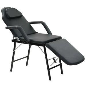 vidaXL Przenośny fotel kosmetyczny, ekoskóra, 185 x 78 x 76 cm, czarny
