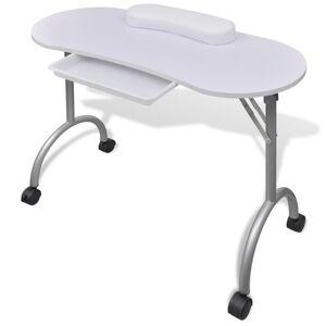vidaXL Składany stolik do manicure z kółeczkami, biały