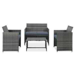vidaXL 4-cz. zestaw wypoczynkowy do ogrodu, poduszki, rattan PE, szary