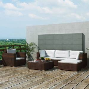 vidaXL 6-cz. zestaw wypoczynkowy do ogrodu, poduszki, rattan PE, brąz