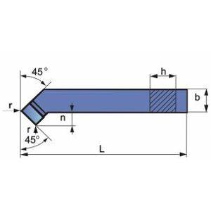 Nóż tokarski wygięty ze stali szybkotnącej NNZc 2525 ISO 2R SK5