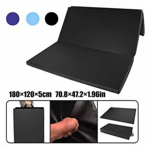 CCLIFE Colchoneta Plegable de Espuma para Gimnasia Yoga Deportiva Yoga estrilla Triple Plegable 180/120/5cm, Color:Negro