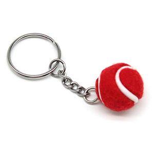 Lixada Mini Llavero de Forma de Pelota de Tenis, Llavero Tenis de Fieltro Regalo para los Amigos, Familias (Rojo-1)
