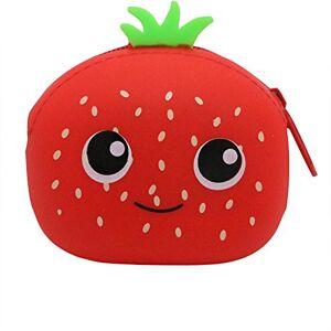 Dosige 1PCS Mujer Mini Cartera,Monedero con Cremallera, Bolso de Llave,Forma de fruta linda de Billetera,Material de Silicona size 9.5x7.5x4.5cm (Fresa roja)