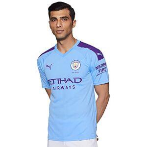Puma Men's MCFC HOME Shirt Replica SS with Sponsor Logo Jersey, Team Light Blue-Tillandsia Purple, M