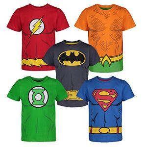 Warner Bros. DC Comics Camiseta con los Superhroes de la Justice League Batman, Superman, Flash, Green Lantern y Aquaman para Nios (Pack de 5), Multi 5 Aos