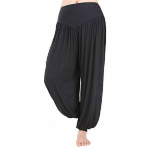 Hoerev Pantaln ancho de Yoga, tejido elstico muy suave negro -