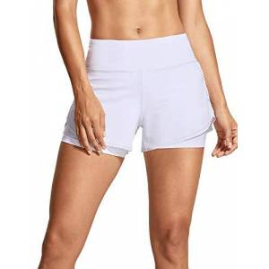 CRZ YOGA Pantalones Cortos Deporte Mujer Shorts 2 en 1 con Bolsillo Cremallera 4 Inch Blanco 38
