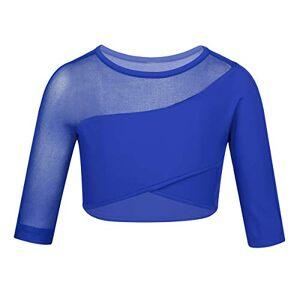 IEFIEL Top Deportivo Nia Manga Larga Malla Asimtrico Crop Top de Danza Baile Ballet Gimnasia Yoga Fitness Camiseta Deporte Mesh T-Shirts Azul 10Aos
