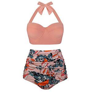 Angerella Mujer Vintage Cuello Halter Talle Alto Ruched Bikini Set,5X-Large