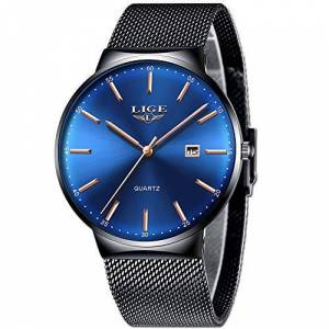 LIGE Relojes Hombre Moda Impermeable Clsico Negro Acero Inoxidable Relojes Hombre Casual Simple Analgico Cuarzo Relojes