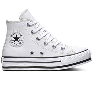 Converse CTAS Plataforma Leather Cuero Niñas Color: Blanco Talla: 33