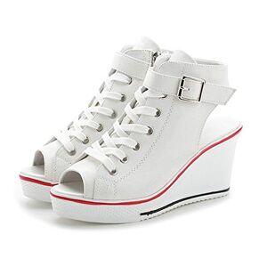siphly Mujer Cuñas Zapatos 35-43 EU De Lona High-Top Zapatos Casuales Talla Grande Zapatillas de Cuña para Mujer Zapatillas de Deporte Zapatillas Altas Primavera/Verano Tacón Cuña