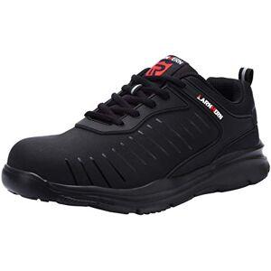 LARNMERN Zapatos de Seguridad Hombres, LM-33 Zapatillas de Trabajo con Punta de Acero Ultra Liviano Reflectivo Transpirable(43 EU,Negro Oscuro)