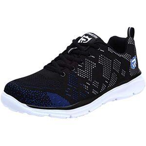 LARNMERN Zapatos de Seguridad Hombres, LM-112 Zapatillas de Trabajo con Punta de Acero Ultra Liviano Reflectivo Transpirable(47 EU,Negro/Azul)