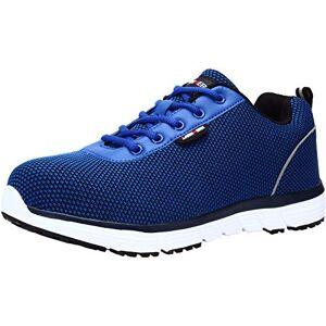 LARNMERN Zapatos de Seguridad Hombres, LM-30 Zapatillas de Trabajo con Punta de Acero Ultra Liviano Reflectivo Transpirable(45 EU,Azul Marino)