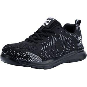 LARNMERN Zapatos de Seguridad Hombres, LM-112 Zapatillas de Trabajo con Punta de Acero Ultra Liviano Reflectivo Transpirable(40 EU,Negro)