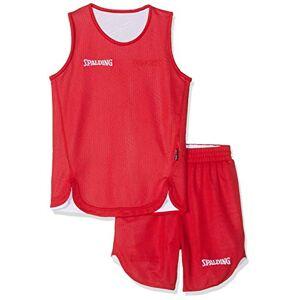 Spalding Doubleface Kids Set, Conjunto reversible camiseta y pantalones de baloncesto para Unisex-Niños, Rojo/Blanco (Red/White), S(36)