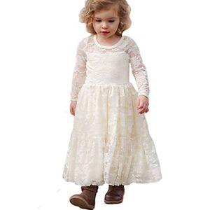CQDY Vestidos de Flores para Bodas Vestido de Encaje de Flores para nias Vestido de Flor Blanca Vestido de Dama de Honor Bautizo con Lazo Grande