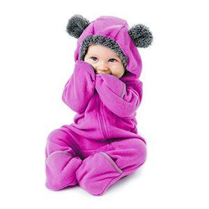 Cuddle Club Mono Polar Beb para Recin Nacidos a Nios 4 Aos Pijamas Infantiles Chaqueta de Invierno Abrigo Polar Nio Mono de Nios BearPurple3-6m