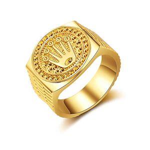 AIUIN 1X Anillo de Preferred Fashion Hip Hop 18K Gold Lced out Crown Ring para Compromiso de Hombres Anillos de Fiesta de Bodas Anillo de Plata Joyería y Accesorios (Dorada,US 10)
