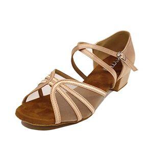 YYTing Zapatos de Baile de salón para Mujeres Latin Salsa Practice Social 6cm, 4cm Tacones YT03(35,Beige-4cm tacón)