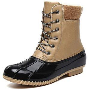 Dannto Botas de Senderismo para Mujer Botas de Nieve Invierno Impermeable Calzado Zapatos de Ocio al Aire Libre y Deportes Zapatillas Antideslizantes cálido Confortables(Caqui,36)