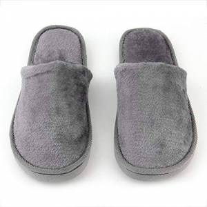 Pgige Plantilla de Goma de Felpa Transpirable Interior para el hogar Casa Mujeres Hombres Inicio Zapatos Antideslizantes Suela Suave Algodón cálido Zapatillas silenciosas para Adultos Gris 42-43