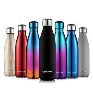 CMXING Botella De Agua 500 ML & 750 ML de Doble Pared con Aislamiento de Botella de Agua de Acero Inoxidable (Caucho Negro, 500ML)