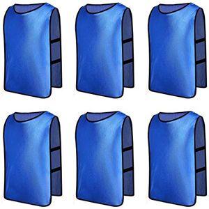 Senston 6 X Deportes pinnies adulto Scrimmage chalecos de entrenamiento de fútbol baberos Deep Blue y 3 Tamaño