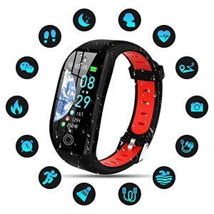 Tipmant Pulsera de Actividad, Reloj Inteligente Smartwatch Impermeable IP68 Pulsera Inteligentes con Pulsómetro Podómetro Calorías Pulsera Deporte para Android y iOS para Hombre Mujer Niños (Rojo)