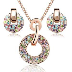 Crystalline Azuria Crystals from Swarovski Colorido Redondo Juego de joyas Collar con colgante 45 cm Pendientes 18k Chapado en oro rosa para mujer