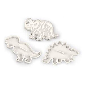Fred Kitchencraft Fred Set de molde Cortador para Galleta de Dinosaurios, Aluminio, Plateado, 61x7.38x2.22 cm, 3 Unidades