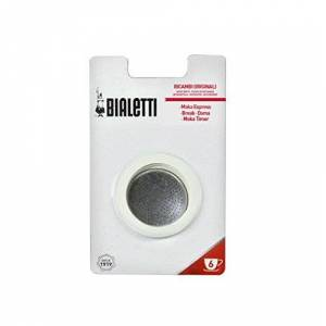 Bialetti Set Ricambi 3 Guarnizioni con 1 Filtro per Moka, 6 Tazze, Alluminio, Bianco