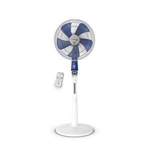 Rowenta Mosquito Silence Ventilador de pie, 40 cm, 4 velocidades, Modo silencioso, 50 dBA, Mando a Distancia, Blanco/Azul