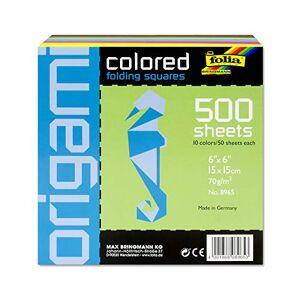 Folia Bringmann Folia 8956 - Pack 500 hojas para origami, 15 x 15 cm, multicolor